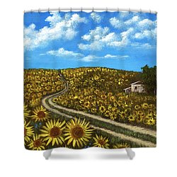 Shower Curtain featuring the painting Sunflower Road by Anastasiya Malakhova
