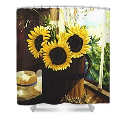 Shower Curtain featuring the painting Sunflower Sill by Renate Nadi Wesley