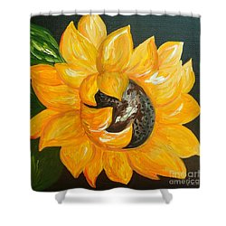 Sunflower Solo Shower Curtain by Eloise Schneider