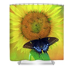 Sunflower With Company Shower Curtain by Marion Johnson