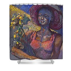 Sunflower Woman Shower Curtain