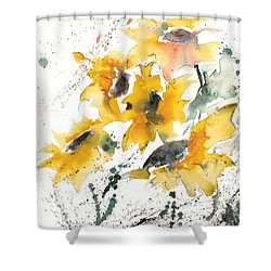 Shower Curtain featuring the painting Sunflowers 10 by Ismeta Gruenwald