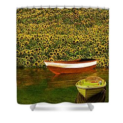 Sunflowers And Boats Shower Curtain by Aleksander Rotner