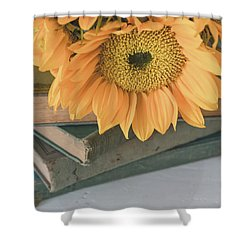 Shower Curtain featuring the photograph Sunflowers And Books by Kim Hojnacki