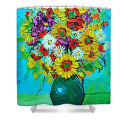 Sunflowers And Daises Shower Curtain by Ana Maria Edulescu