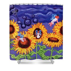 Sunflowers And Faeries Shower Curtain by Genevieve Esson