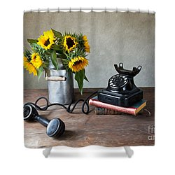 Sunflowers And Phone Shower Curtain