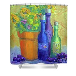 Sunflowers And Wine Shower Curtain