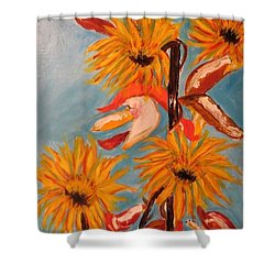 Sunflowers At Harvest Shower Curtain