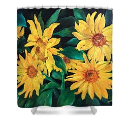 Sunflowers Shower Curtain by Ellen Canfield