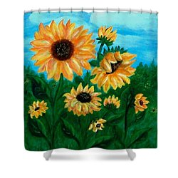 Shower Curtain featuring the painting Sunflowers For Mom by Sonya Nancy Capling-Bacle