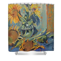 Sunflowers Fresh And Dried With Vase Shower Curtain