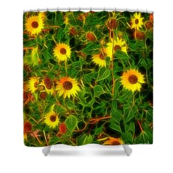 Sunflowers Gone Wild Shower Curtain