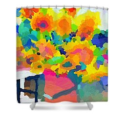 Sunflowers In A Bucket At Rockport Farmers Market Shower Curtain