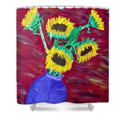 Sunflowers In A Purple Vase Shower Curtain