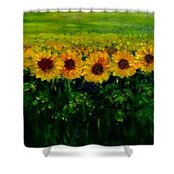 Sunflowers In A Row Shower Curtain