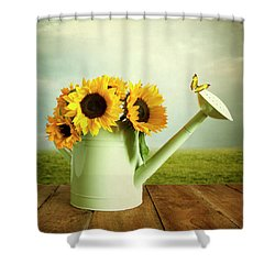 Sunflowers In A Watering Can Shower Curtain