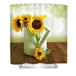 Sunflowers In An Old Watering Can Shower Curtain