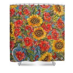 Sunflowers In Blue Pitcher. Shower Curtain