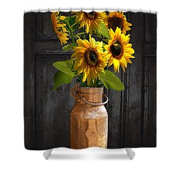 Sunflowers In Copper Milk Can Shower Curtain