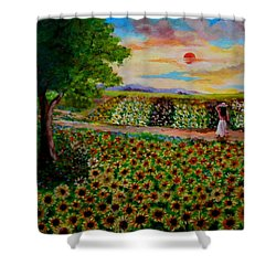Sunflowers In Sunset Shower Curtain