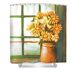 Shower Curtain featuring the painting Sunflowers In Window by Winsome Gunning