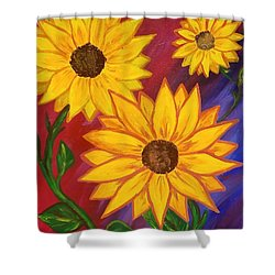 Shower Curtain featuring the painting Sunflowers  by Jennah Lenae