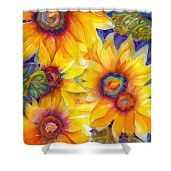 Sunflowers On Blue II Shower Curtain