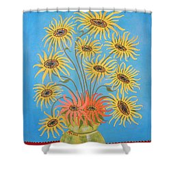 Sunflowers On Blue Shower Curtain
