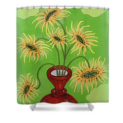 Sunflowers On Green Shower Curtain