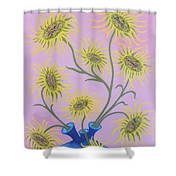Sunflowers On Pink Shower Curtain
