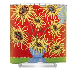 Sunflowers On Red Shower Curtain by Marie Schwarzer