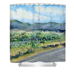 Sunflowers On The Way To The Great Sand Dunes Shower Curtain by Holly Carmichael