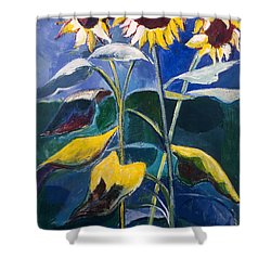 Shower Curtain featuring the painting Sunflowers Standing Tall by Betty Pieper