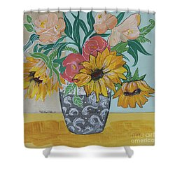 Shower Curtain featuring the painting Sunflowers Three by Robin Maria Pedrero