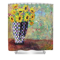 Sunflowers Warmth Shower Curtain by Haleh Mahbod