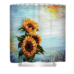 Sunflowers - Where Ocean Meets The Sky Shower Curtain