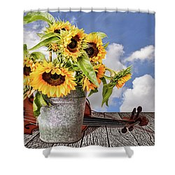 Sunflowers With Violin Shower Curtain