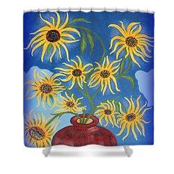Sunflowers On Navy Blue Shower Curtain