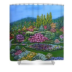 Shower Curtain featuring the painting Sunken Garden by Amelie Simmons