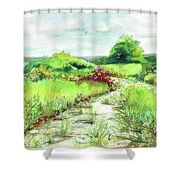 Sunken Meadow, September Shower Curtain by Susan Herbst