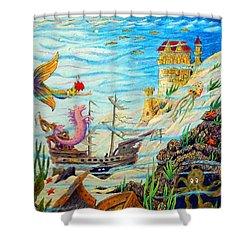 Sunken Ships Shower Curtain by Matt Konar