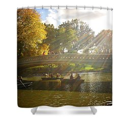 Sunlight And Boats - Central Park -  New York City Shower Curtain by Vivienne Gucwa