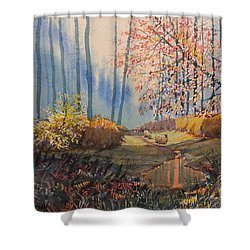 Sunlight And Sheep In Sledmere Woods Shower Curtain