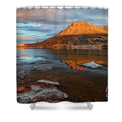 Sunlight On The Flatirons Reservoir Shower Curtain by Ronda Kimbrow