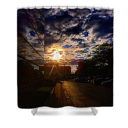 Sunlit Cloud Reflection Shower Curtain by Nick Heap