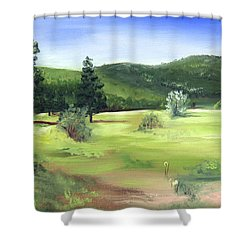 Sunlit Mountain Meadow Shower Curtain
