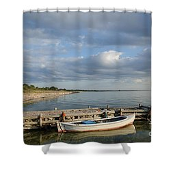 Sunlit Old Wooden Boat Shower Curtain by Kennerth and Birgitta Kullman