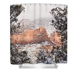 Sunlit Red Shower Curtain