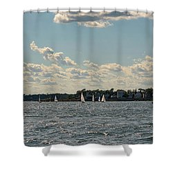 Sunlit Sailboats Norwalk Connecticut From The Water Shower Curtain